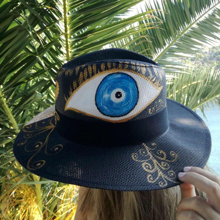 Ψάθινο Καπέλο Ζωγραφισμένο Black Eye