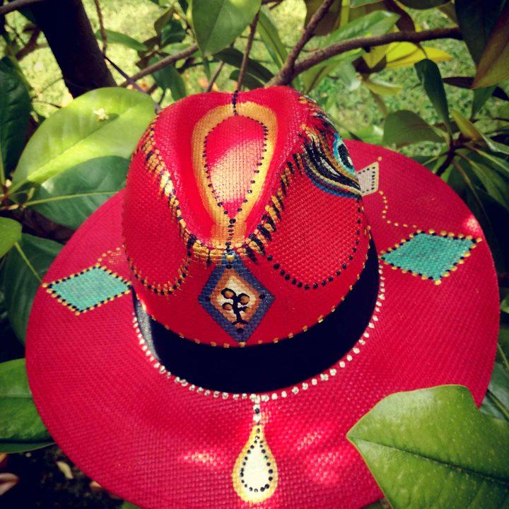 Ψάθινο Καπέλο Ζωγραφισμένο Red Eye