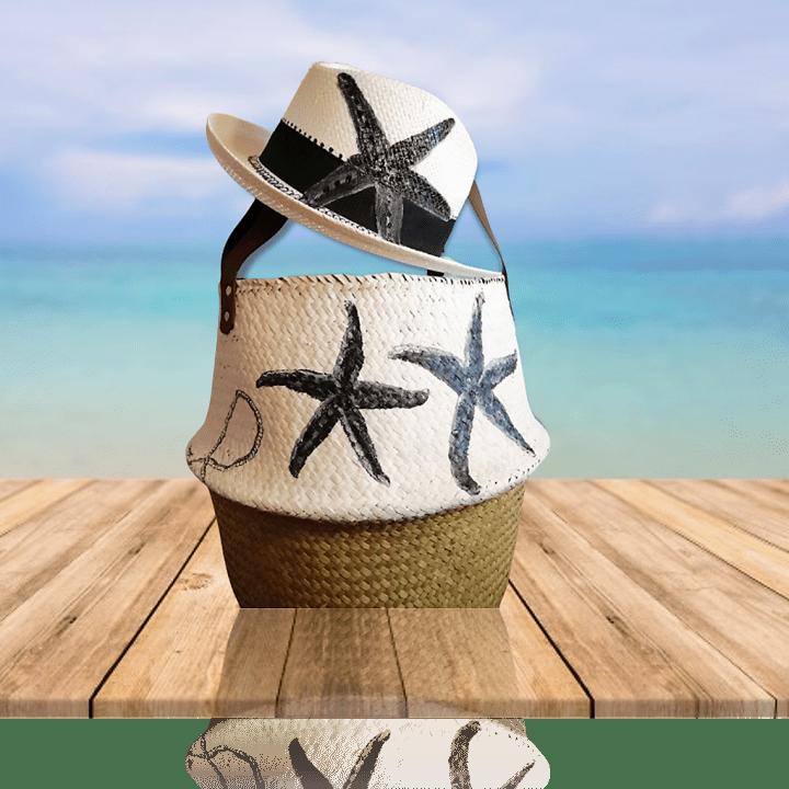 Ψάθινο Καπέλο ΖωγρΨάθινο Καπέλο Ζωγραφισμένο Αστερίαςαφισμένο Αστερίας