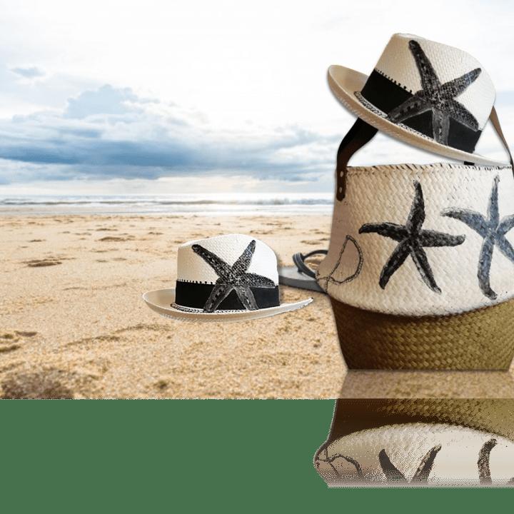 Ψάθινο Καπέλο Ζωγραφισμένο Αστερίας